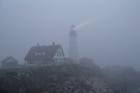 Portland Head Light in the early morning fog